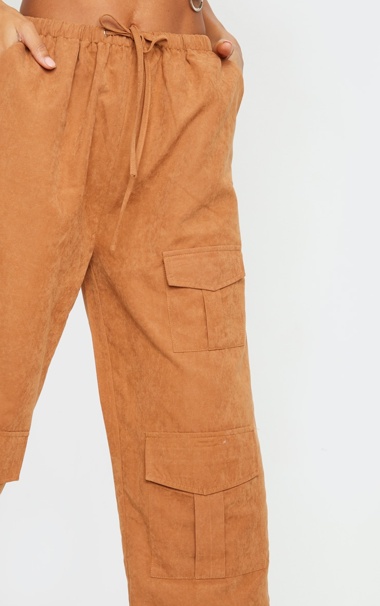 Rust Faux Suede Drawstring Waist Cargo Trousers 4
