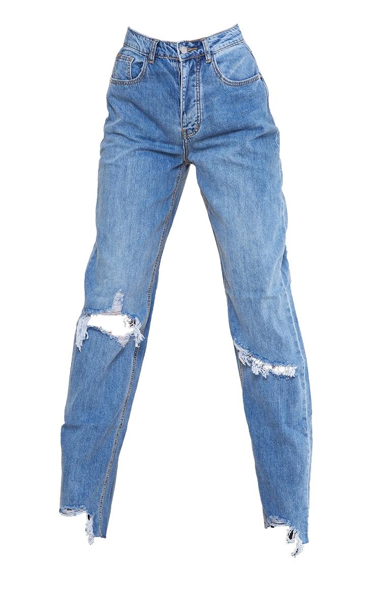 PRETTYLITTLETHING Tall Light Blue Wash Extreme Ripped Hem Boyfriend Denim Jeans 5