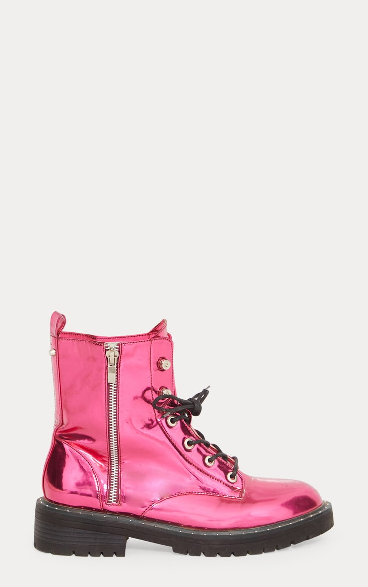 Pink Metallic Chunky Lace Up Boot 4