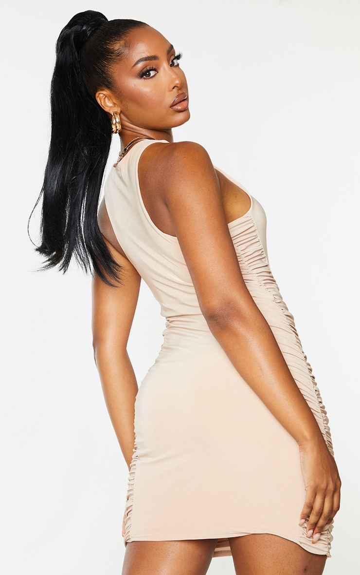 Stone Slinky Racer Neck Ruched Side Bodycon Dress 2