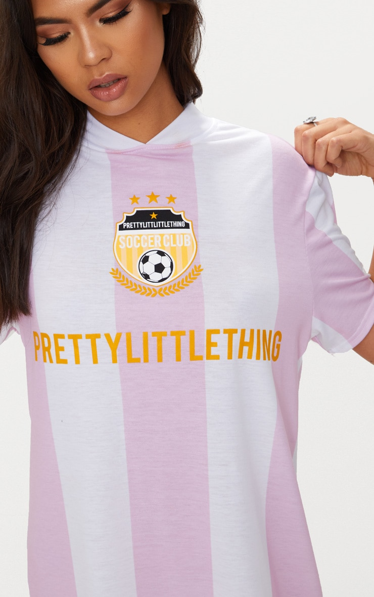 PRETTYLITTLETHING Baby Pink Football Style T Shirt Dress  5