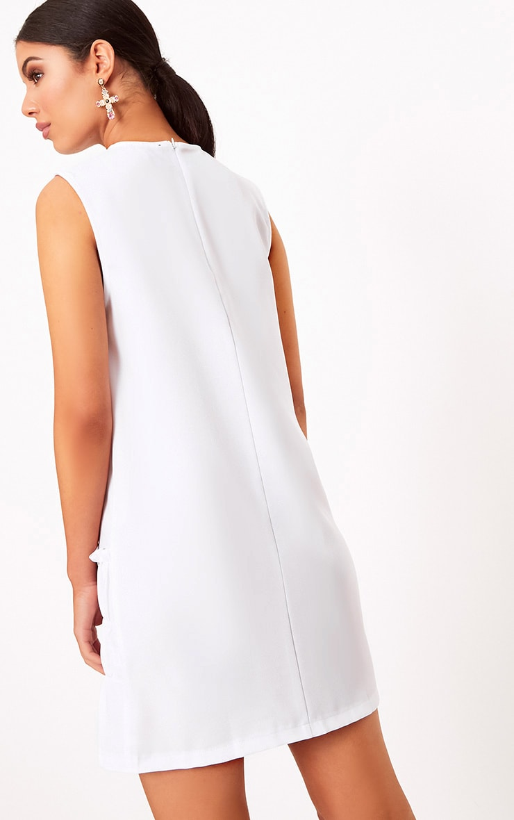 Salinda White Sleeveless Ruffle Detail Shift Dress  2