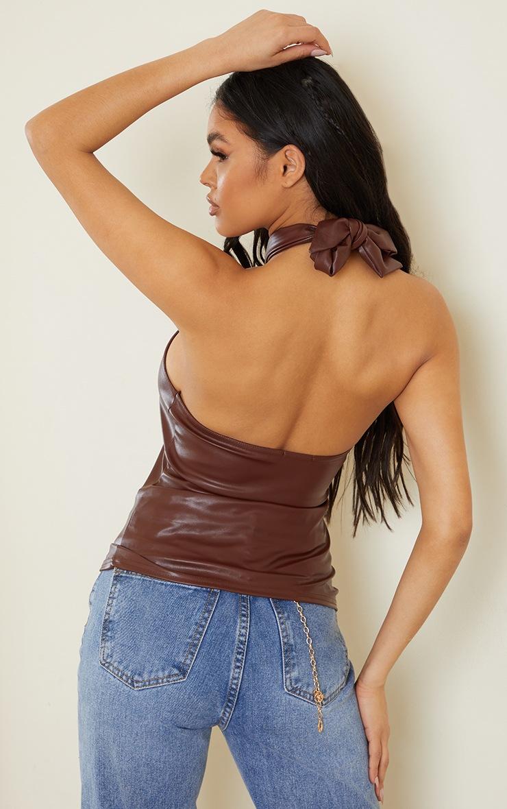 Chocolate Pu Knot Halterneck Long Top 2
