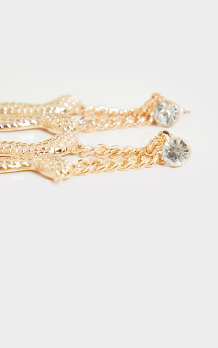 Gold Ribbed Snake Chain Drop Earrings 3