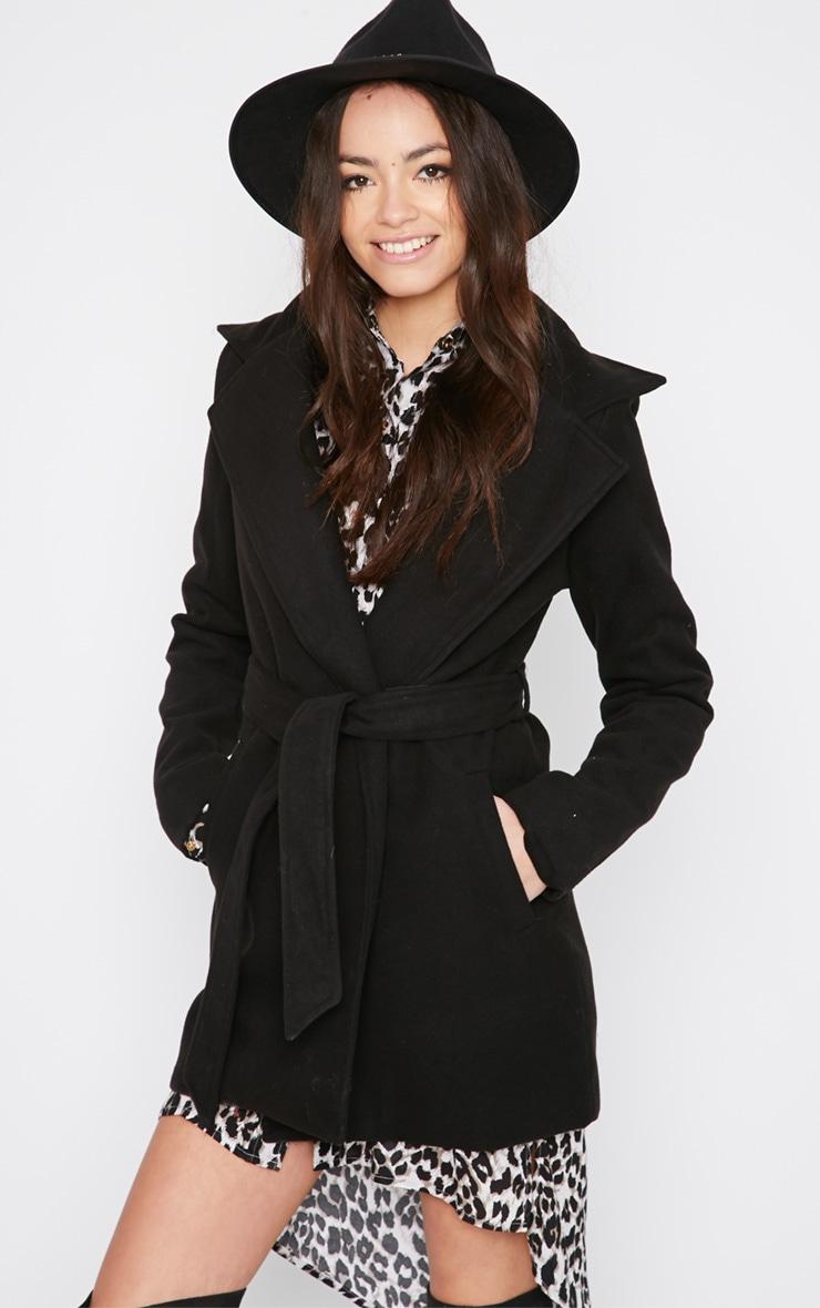 Shona Black Notched Collar Wool Coat  4