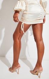 Cream Satin Ruched Side Mini Skirt 3
