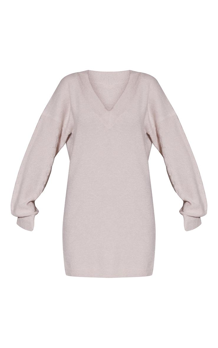 Oatmeal V Neck Cable Sleeve Jumper Dress 5