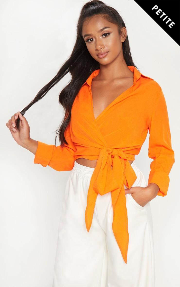 Petite Orange Tie Waist Blouse
