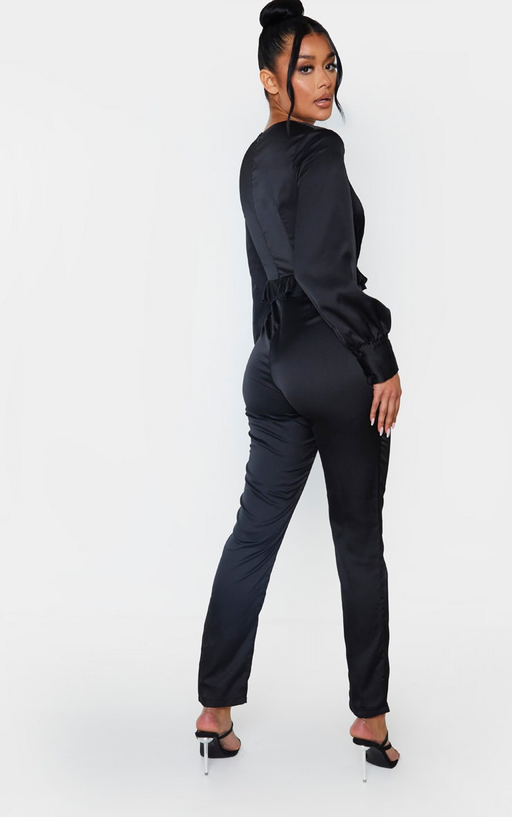 Black Corset Frill Detail Long Sleeve Jumpsuit 2
