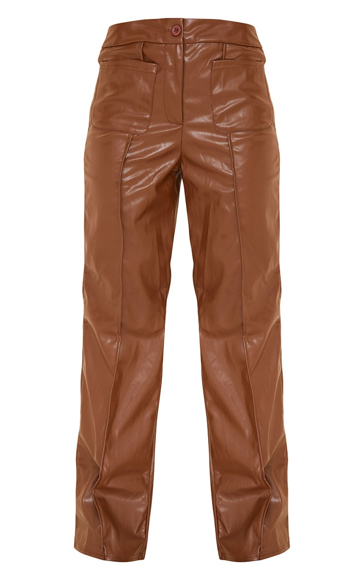 Chocolate Brown Faux Leather Pocket Front Straight Leg Trousers 5