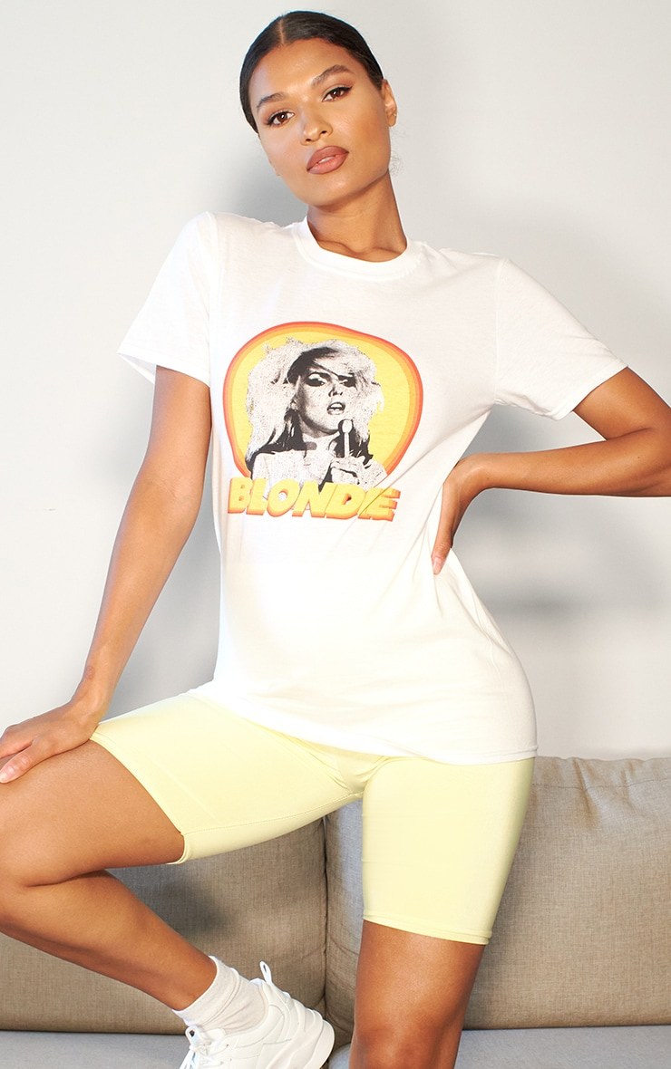 white blondie printed t shirt