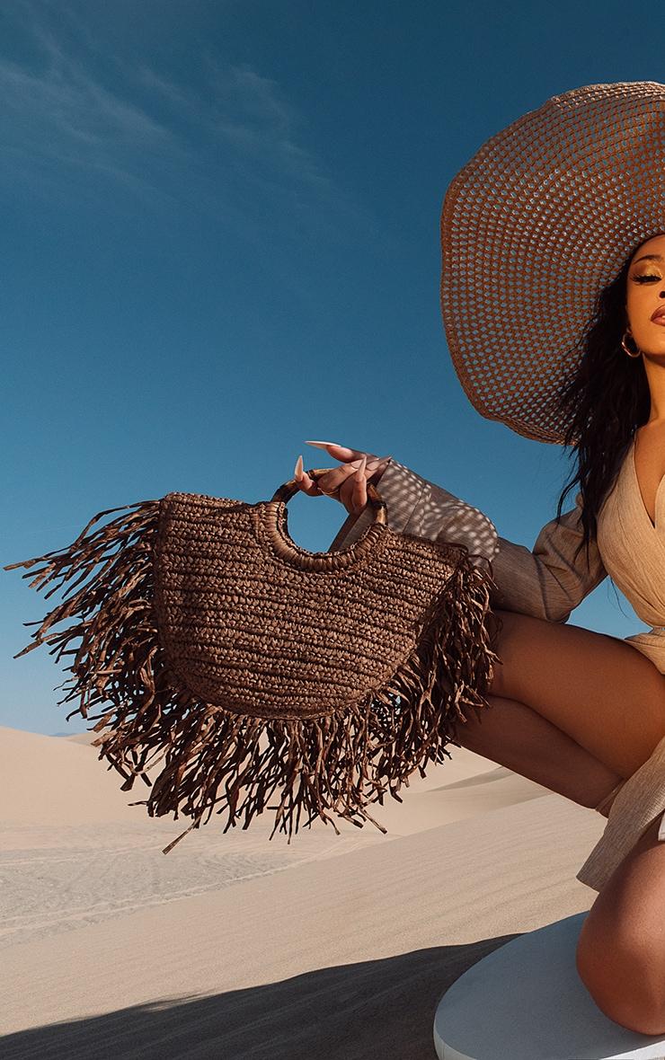 Brown Raffia Grab Bag 1