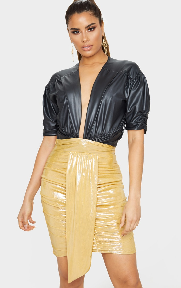 Tall Gold Metallic Drape Detail Ruched Mini Skirt 1