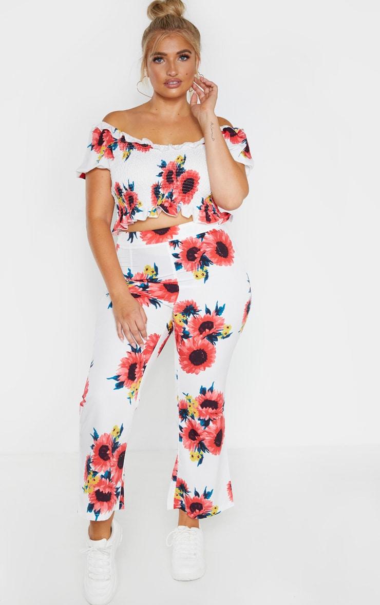 Plus White Floral Shirred Puff Sleeve Crop Top  1