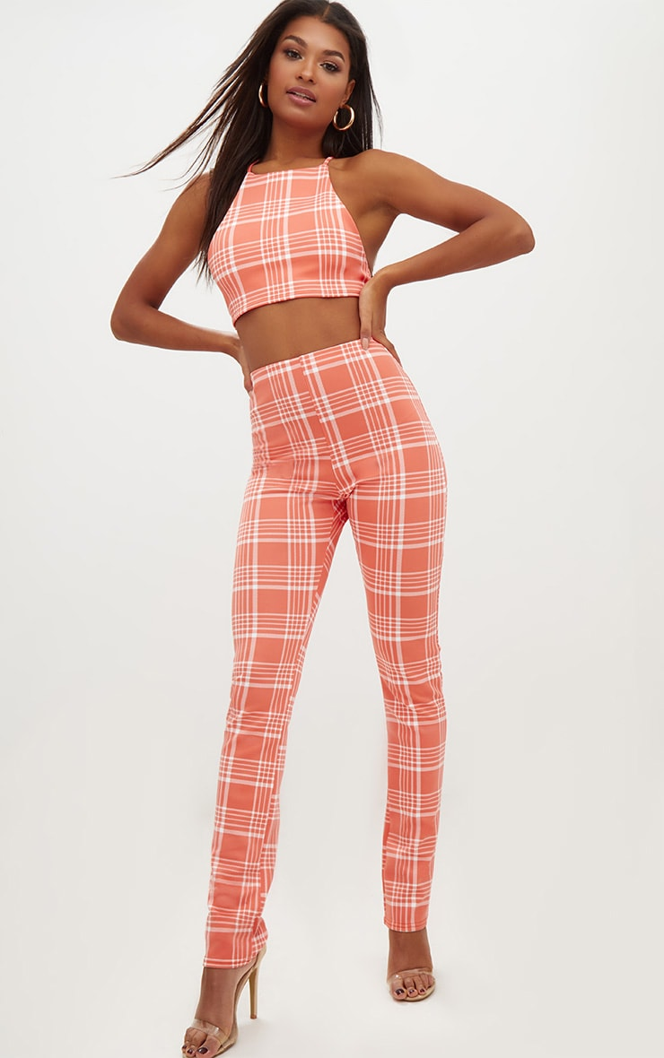 Orange Check Print Tapered Trousers  1