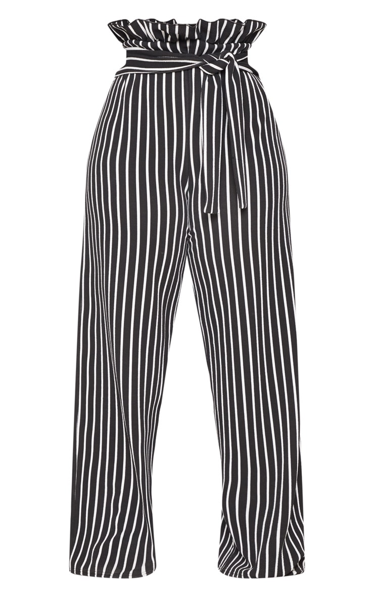 Plus Black Striped Paperbag High Waisted Wide Leg Trousers 3