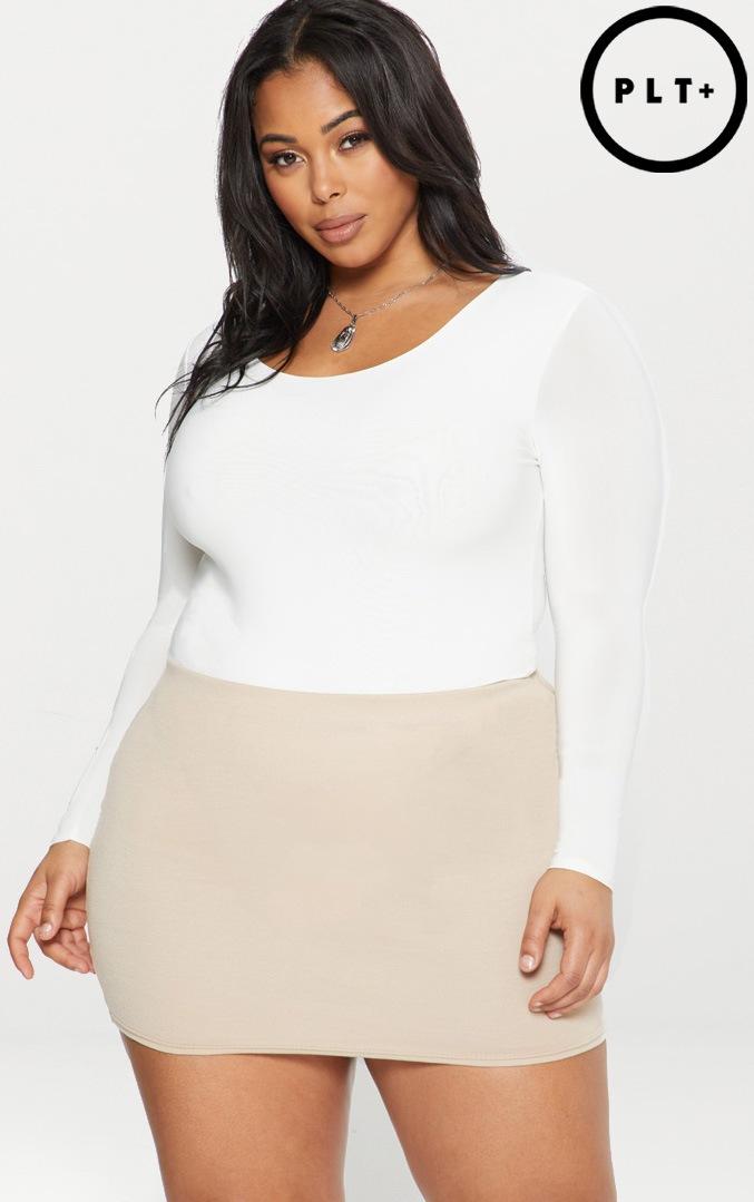 Plus White Second Skin Long Sleeve Thong Bodysuit 1