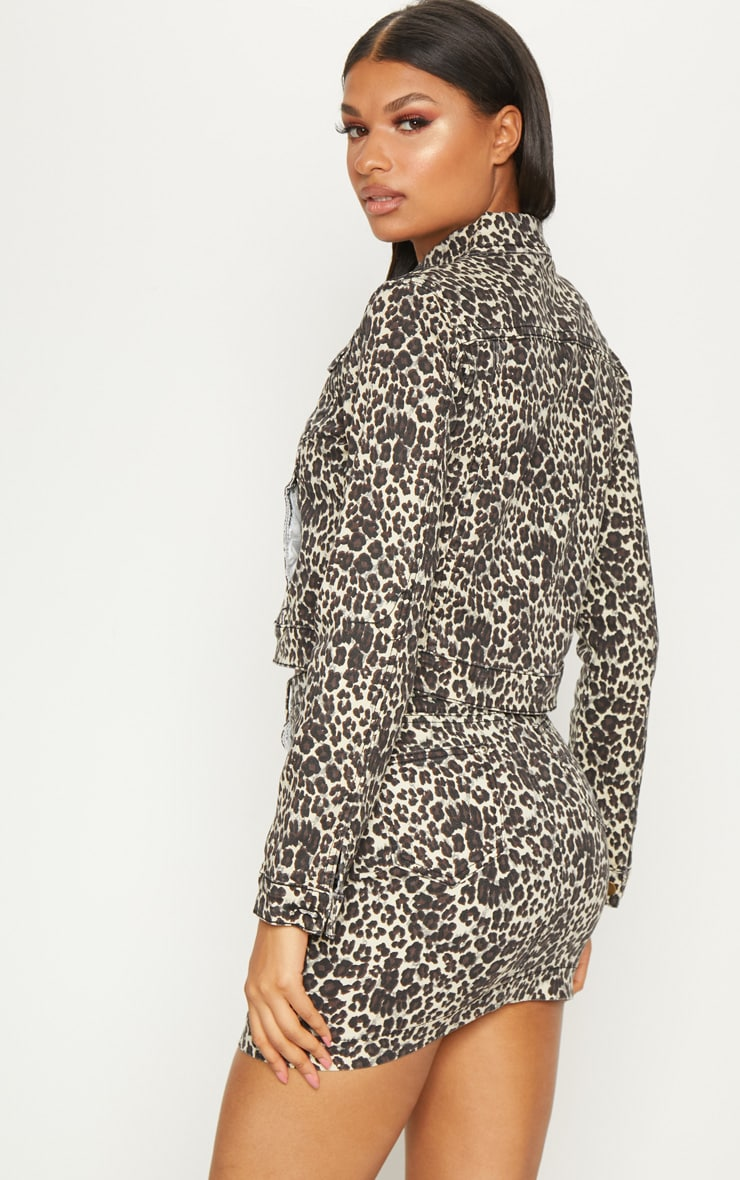 Leopard Cropped Oversized Denim Jacket 2