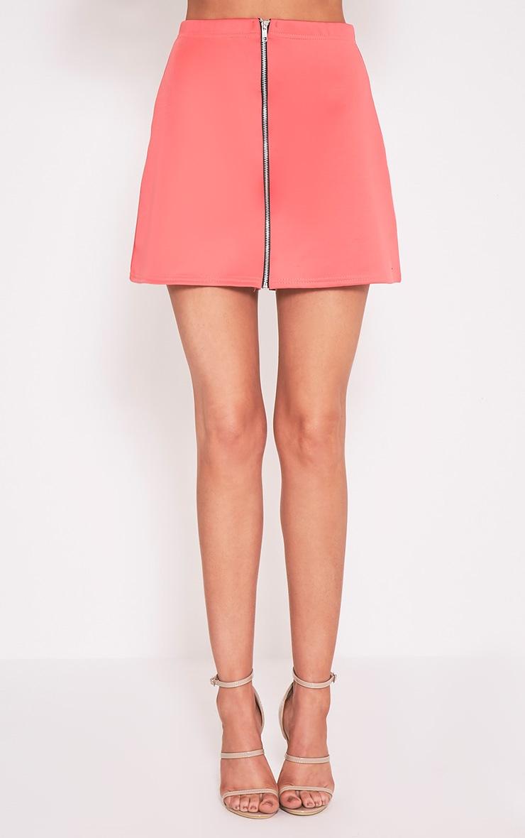 Makayla Coral Zip A-Line Mini Skirt 2