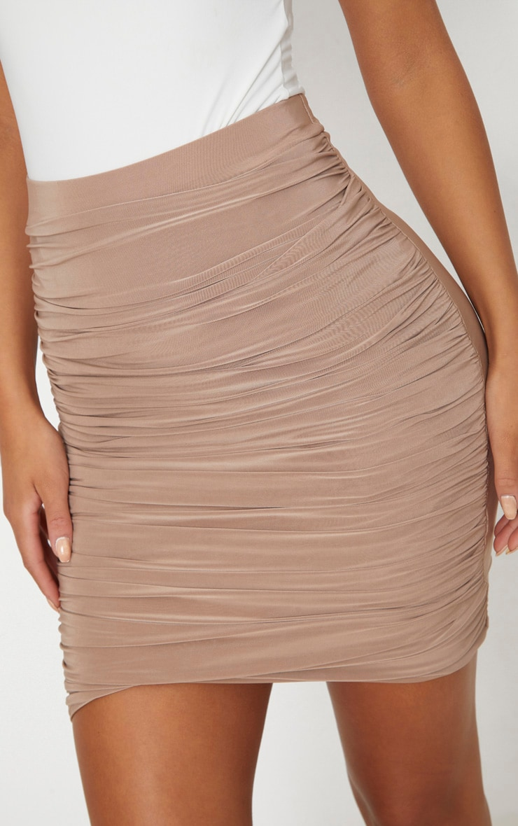 Sabina Taupe Ruched Layered Slinky Mini Skirt 6