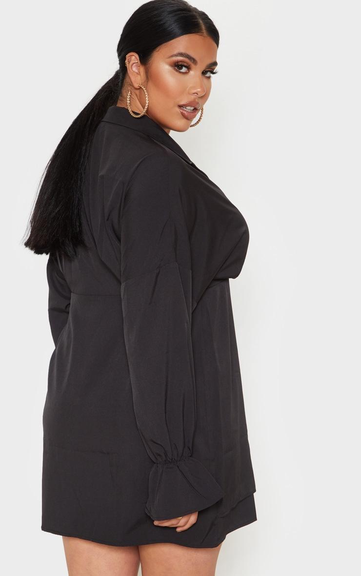 PLT Plus - Robe chemise noire à détail col 2