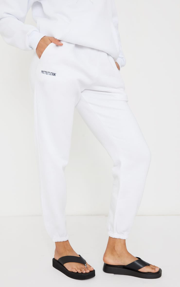PRETTYLITTLETHING White Block Embroidered Joggers 2