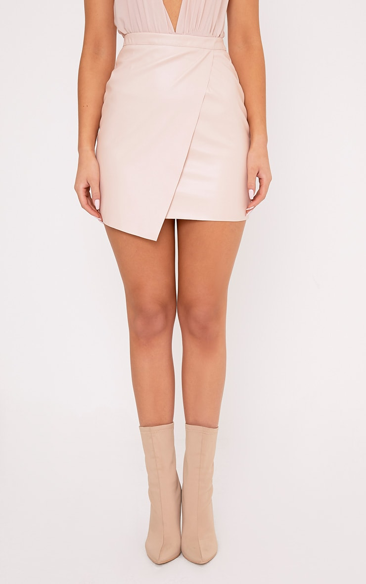 Luisa Nude Faux Leather Wrap Mini Skirt  2