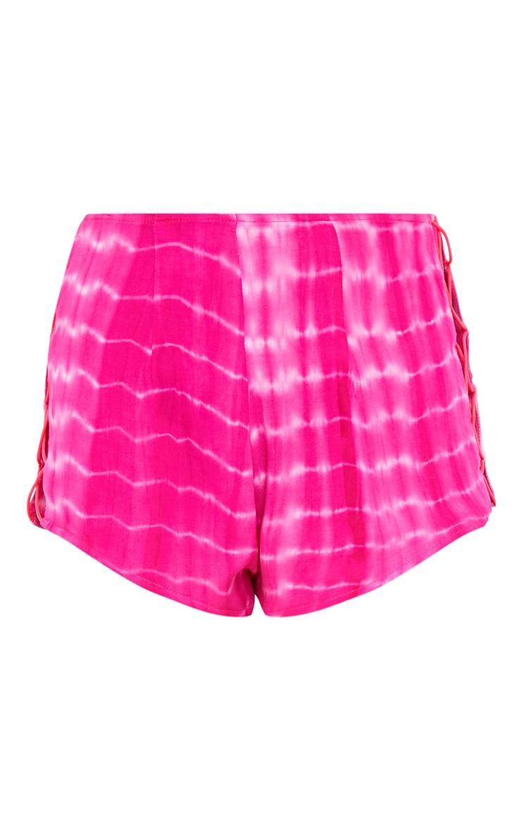 Claudelle Pink Tie Dye Lace Up Hot Pants 3