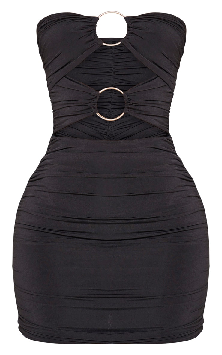 Shape Black Slinky Ring Detail Ruched Bodycon Dress 5