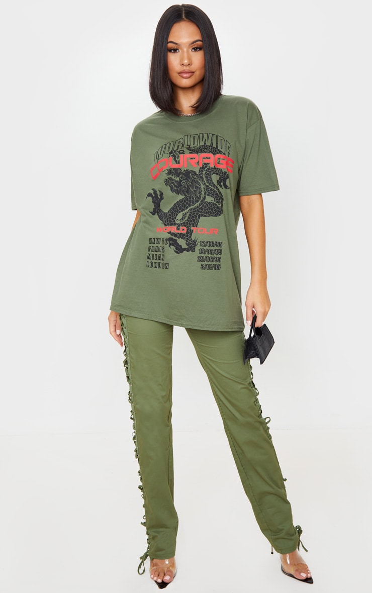 Khaki Dragon Oversized T Shirt 1