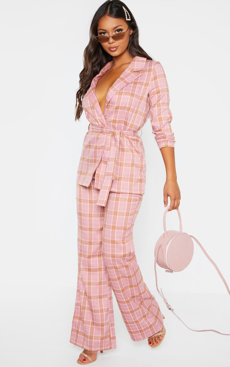 Petite Coral Checked Trousers 1