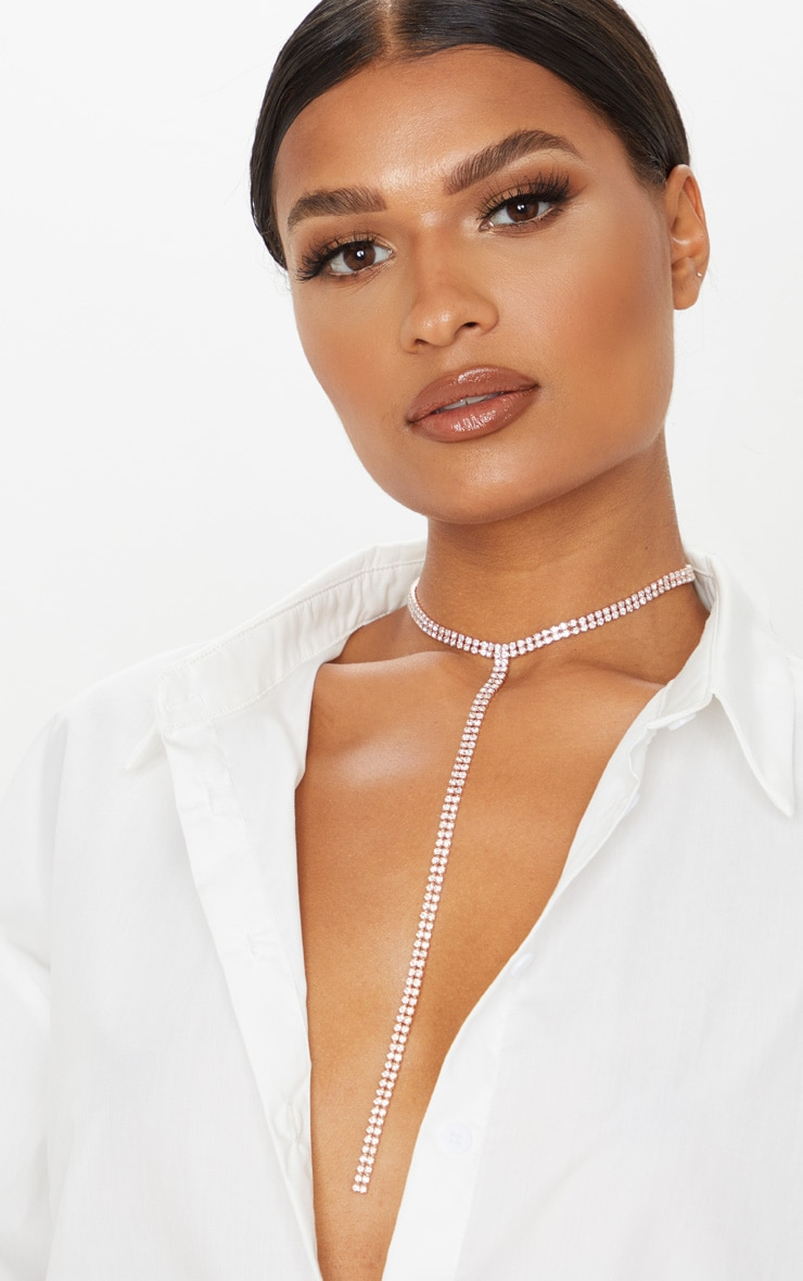 Rose Gold Diamante Choker Lariat Necklace 1