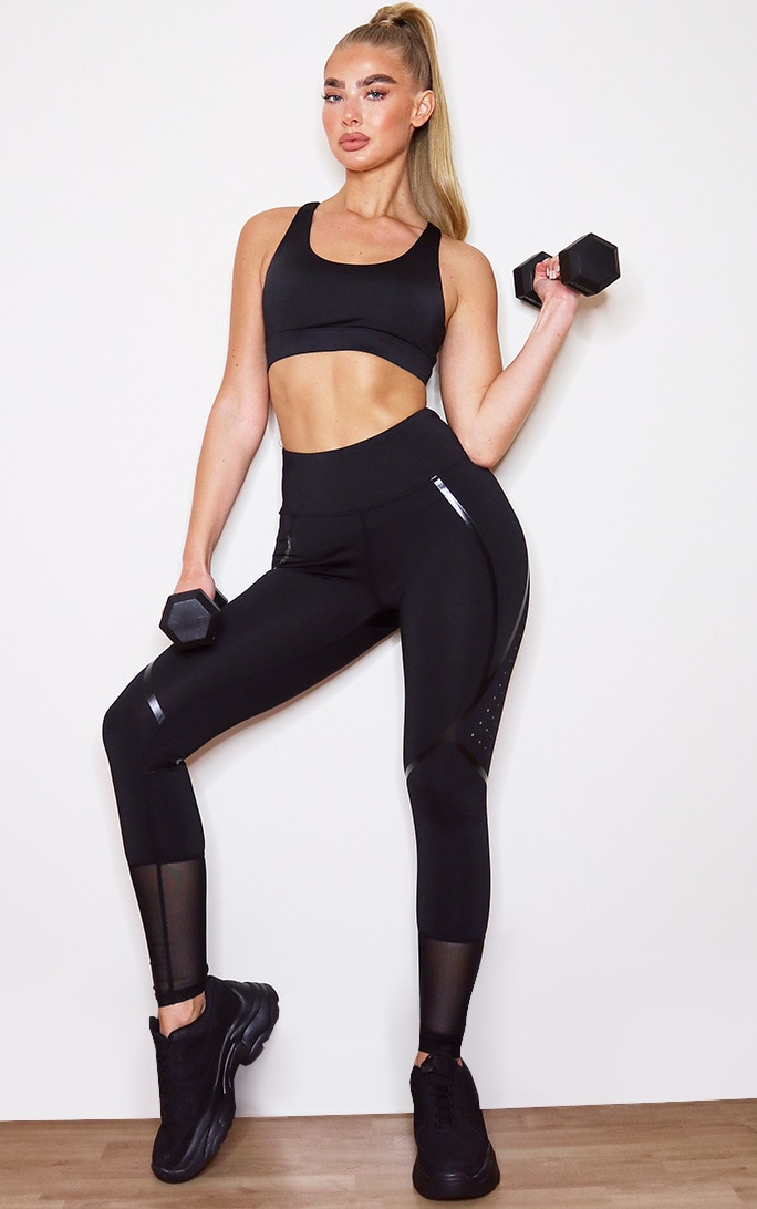 Black High Shine Detail Gym Legging 1