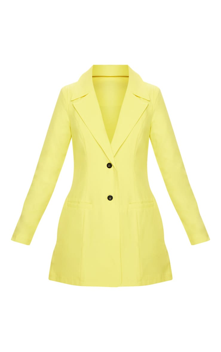 Yellow Plunge Contrast Button Button Blazer Dress 3