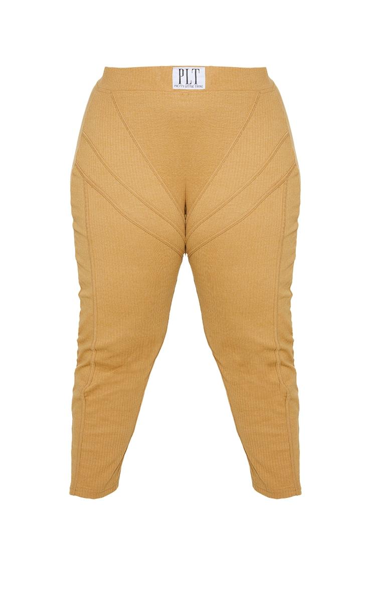 Plus Camel Badge Detail Rib Leggings 5