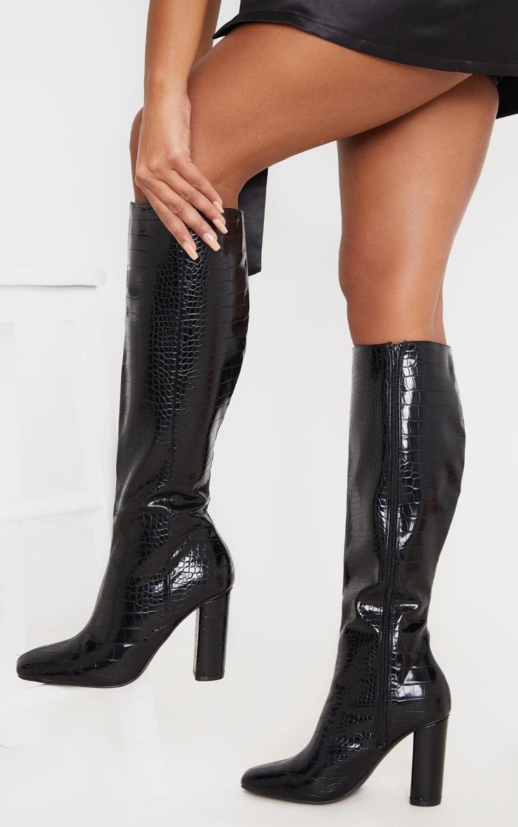 Black Round Block Heel Knee High Boots 2