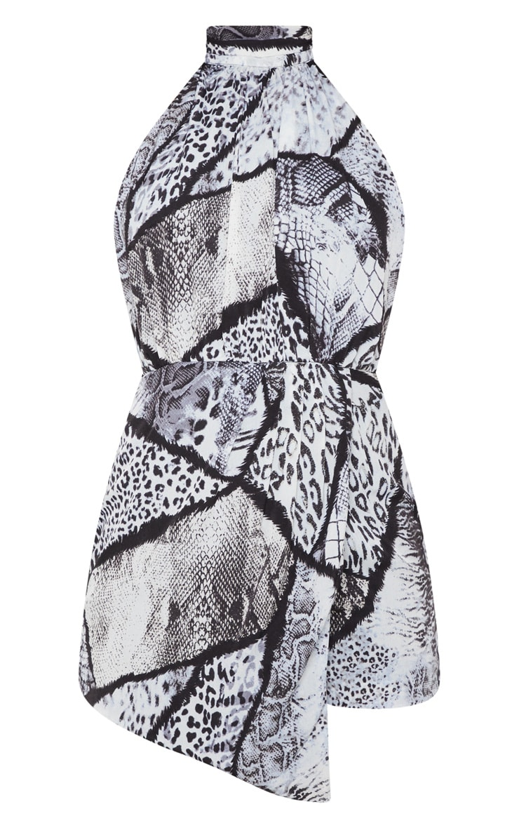 Monochrome Mixed Animal Print Halterneck Wrap Detail Romper 3