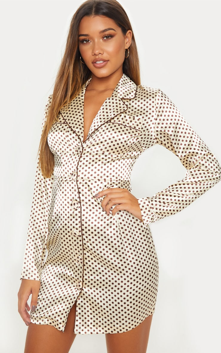 Cream Polka Dot Binding Detail Satin Shirt Dress