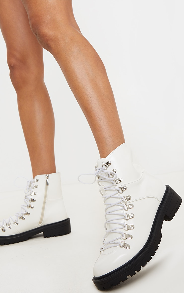 White Cleated Sole Hiker Eyelet Ankle Boot 2
