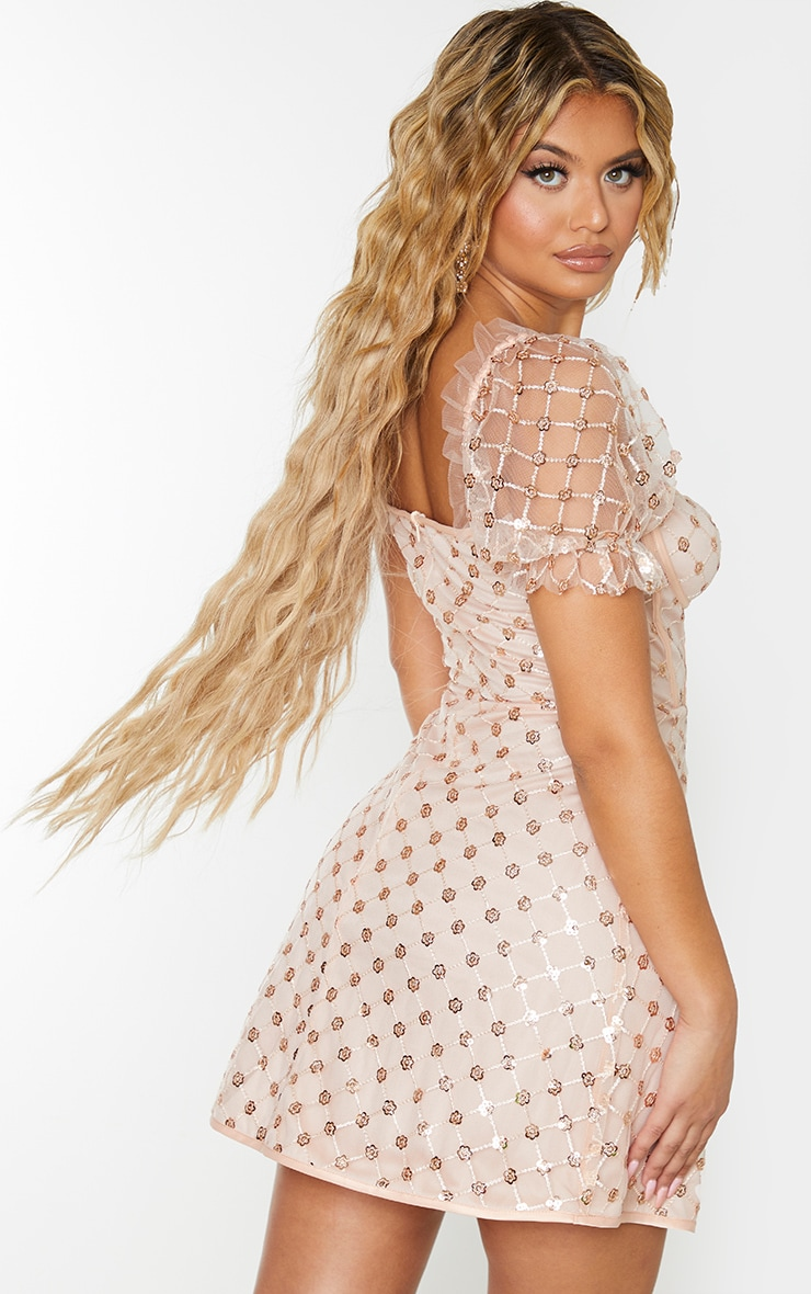 Rose Gold Sequin Detail Puff Sleeve Cup Detail Shift Dress 2