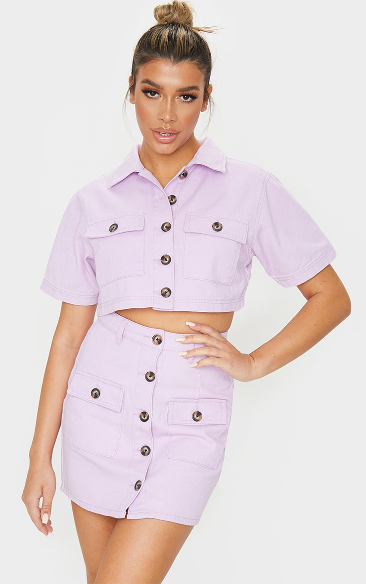 Lilac Button Up Pocket Detail Denim Short Sleeve Shirt 3