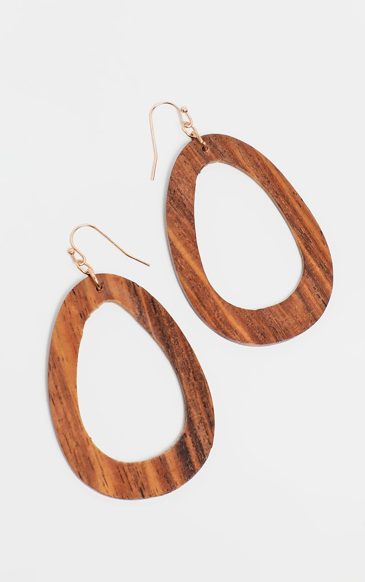 Brown Asymmetric Wooden Hoops 2
