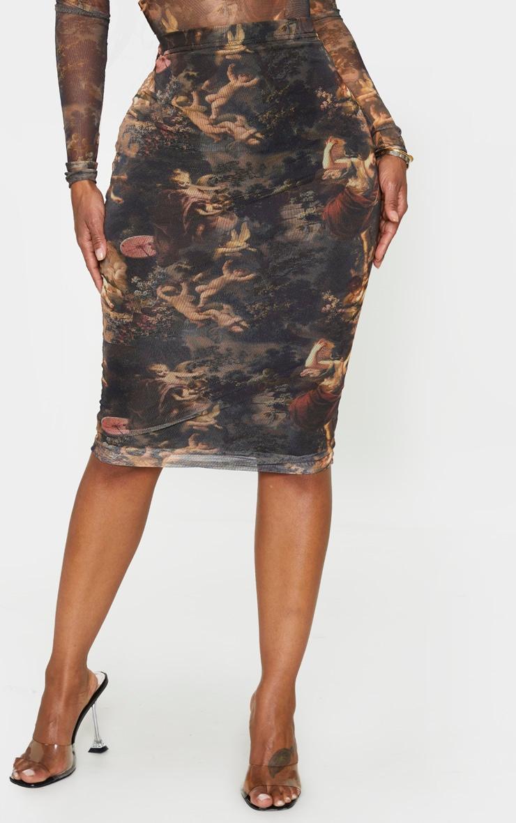 Shape Renaissance Printed Mesh Midi Skirt 3