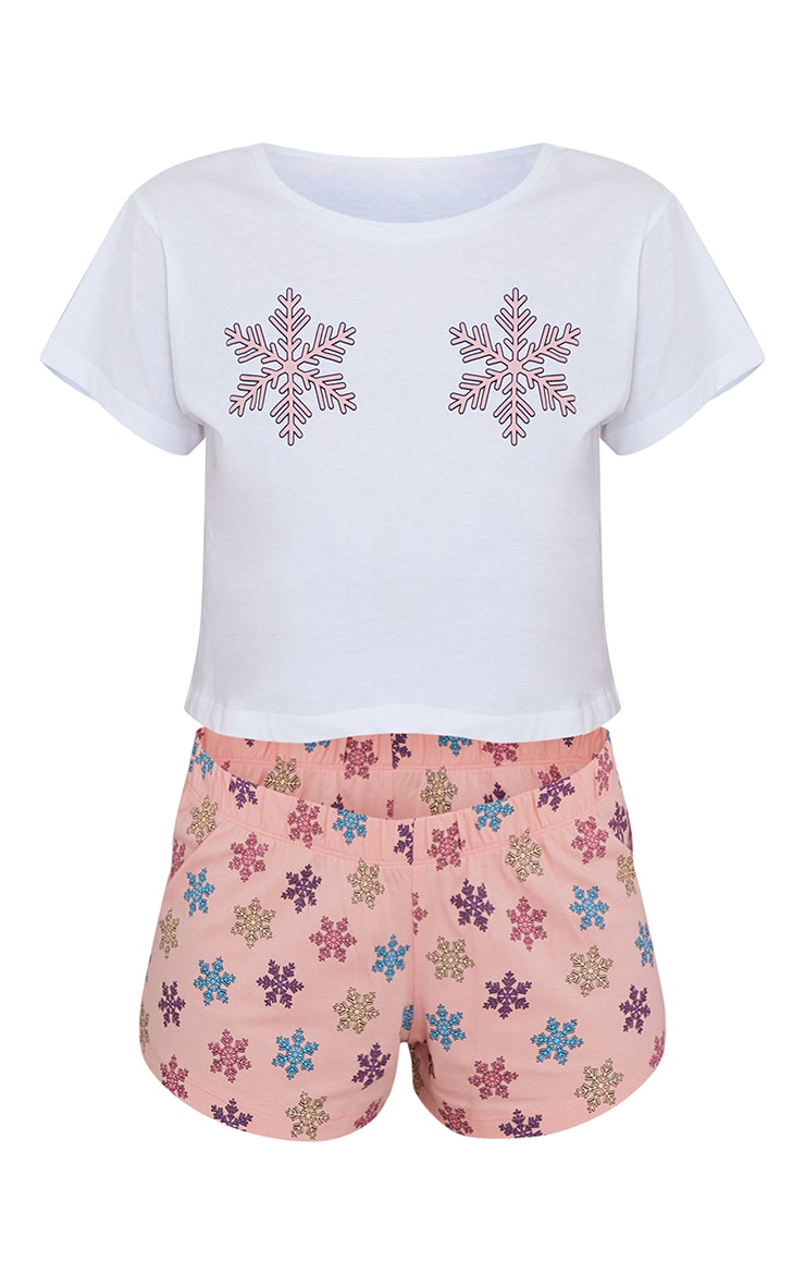 Pink Snow Flake Print T-Shirt And Shorts PJ Set 5