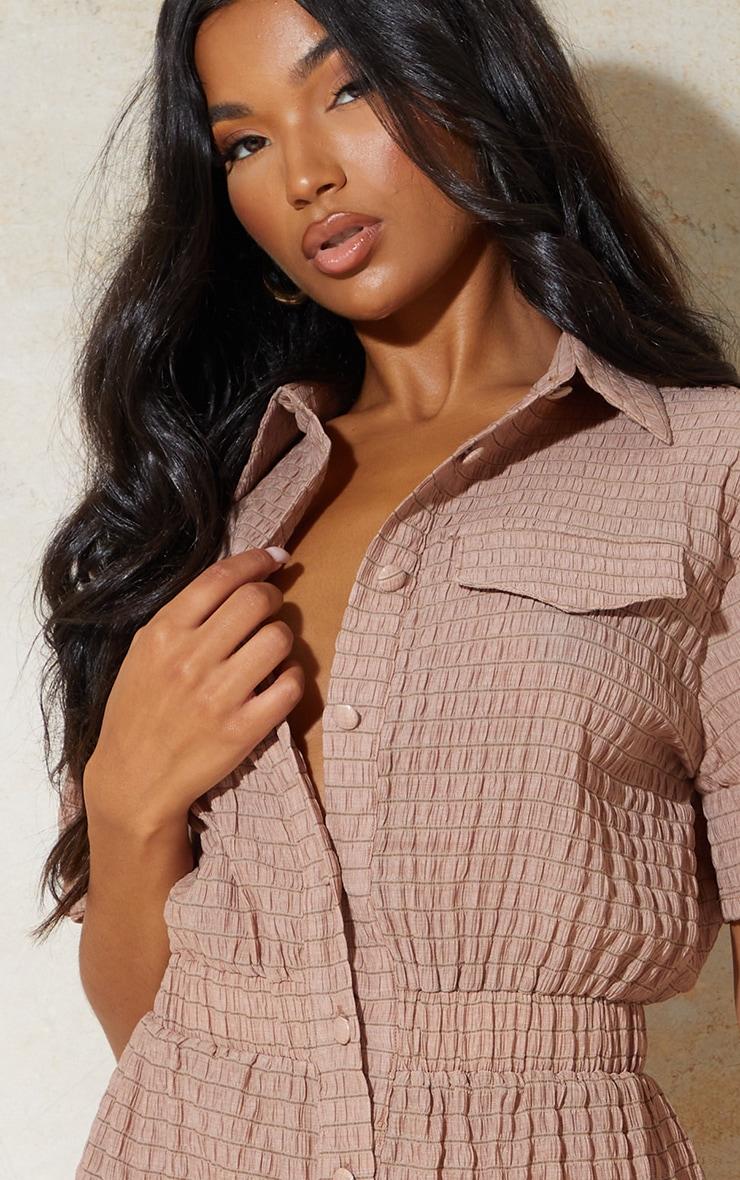 Chocolate Crinkle Stripe Short Sleeve Shirt Romper 4