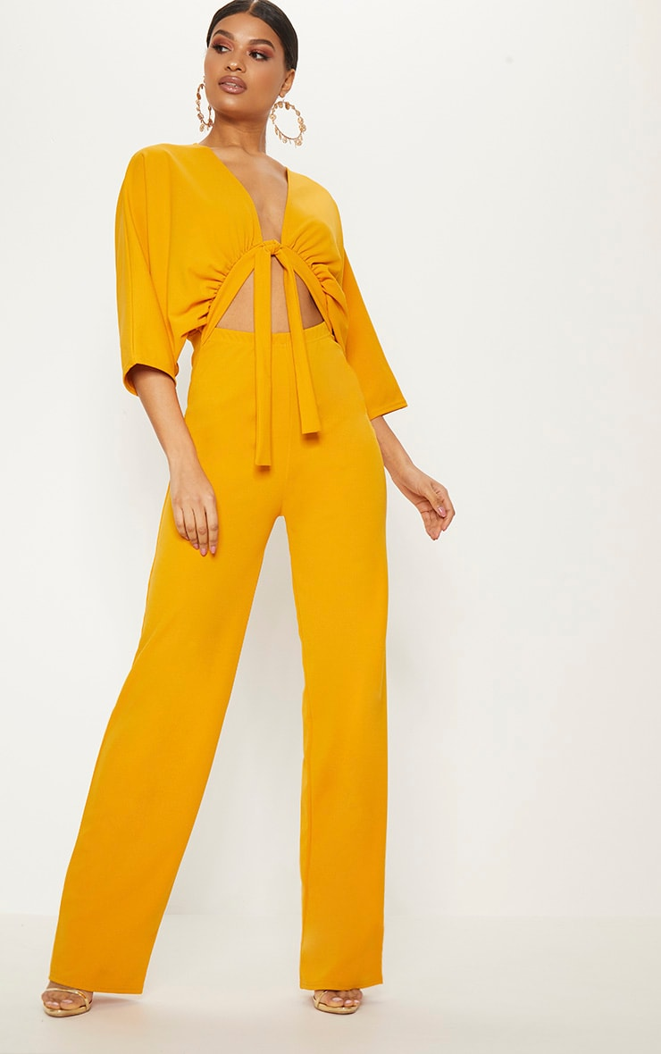 Mustard Crepe Batwing Cut Out Jumpsuit 4