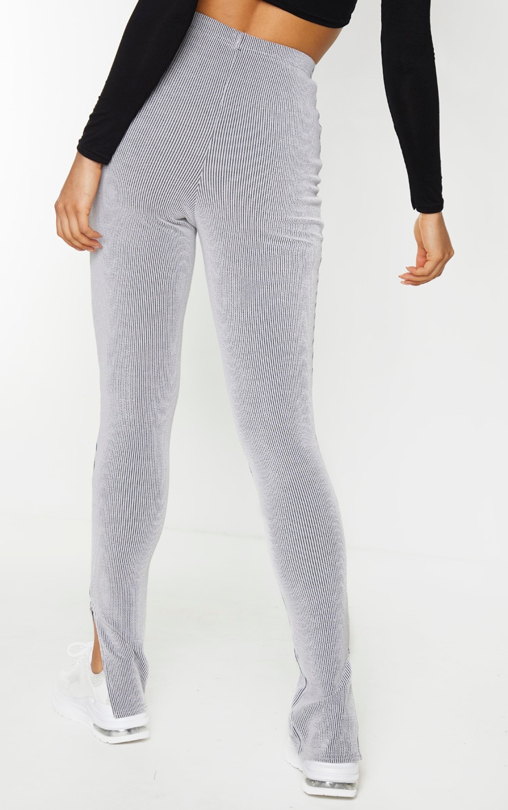 Tall Grey Knitted Split Hem Legging 3