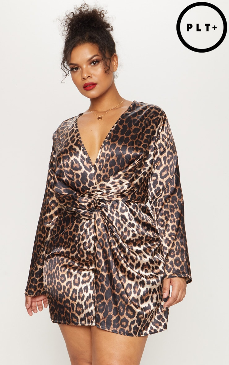 Plus Leopard Print Satin Twist Front Shift Dress 1