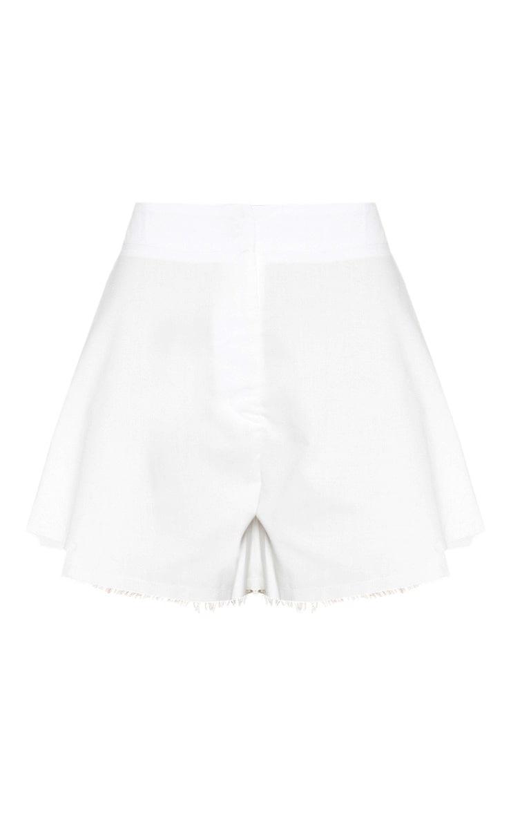 White Raw Hem Detail Floaty Short 3
