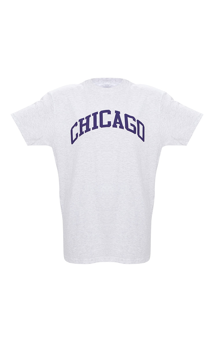Tee-shirt gris clair oversized à slogan Chicago 3